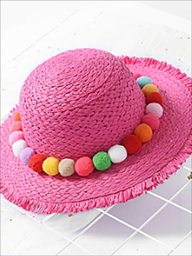 Girls Straw Hat with Pom Poms - Hot Pink / One Size - Girls Hats