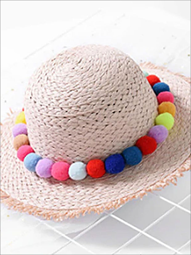 Girls Straw Hat with Pom Poms - Pink / One Size - Girls Hats