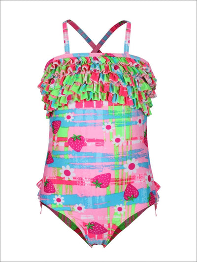 Girls Strawberry Floral Ruffle One Piece Swimsuit - Girls One Piece Swimsuit