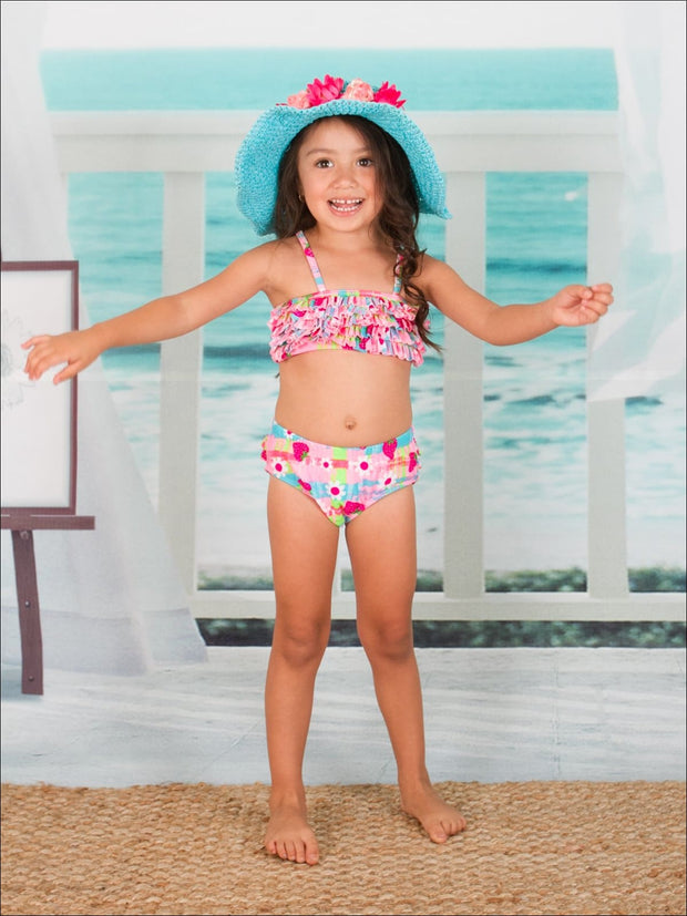 Girls Strawberry Floral Ruffled Two Piece Swimsuit - Girls Two Piece Swimsuit