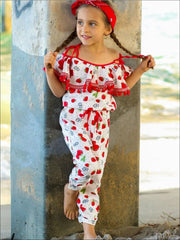 Girls Strawberry & Polka Dot Print Off the Shoulder Pom Pom Ruffled Drawstring Jumpsuit - Girls Jumpsuit