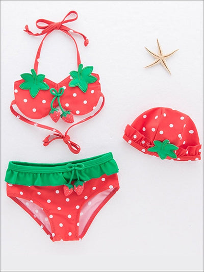 Girls Strawberry Self-Tie Two Piece Swimsuit With Matching Hat - 12M-18M / Red & Green - Girls Two Piece Swimsuit