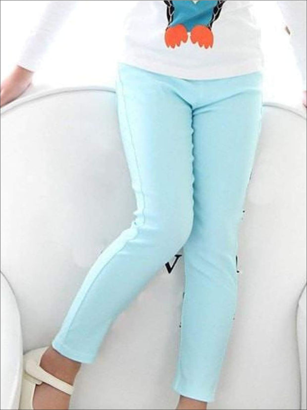 Girls Stretch Candy Colored Faux Denim Jeggings - Blue / 3T - Girls Jeggings