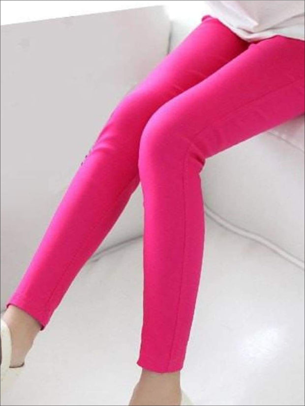 Girls Stretch Candy Colored Faux Denim Jeggings - Hot Pink / 3T - Girls Jeggings