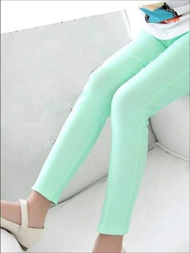 Girls Stretch Candy Colored Faux Denim Jeggings - Mint / 3T - Girls Jeggings