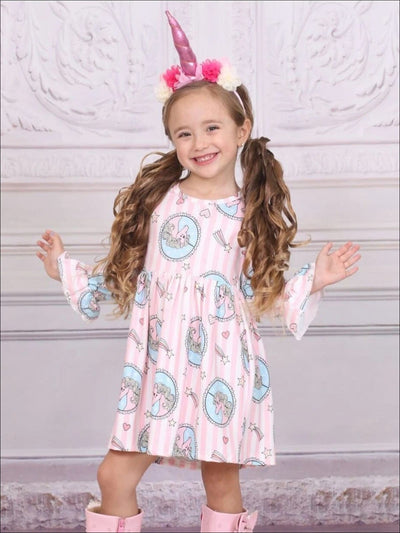 Girls Striped A-Line Flared Long Sleeve Pony Heart & Star Pink Print Dress - Pink / S-3T - Girls Spring Casual Dress
