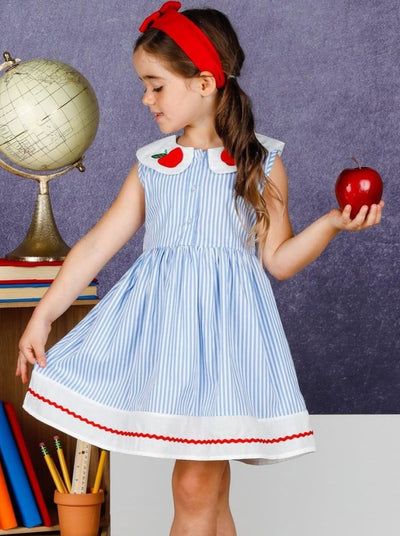 Girls Striped Apple Applique Collared Dress - Blue / 3T - Girls 1st Day of School
