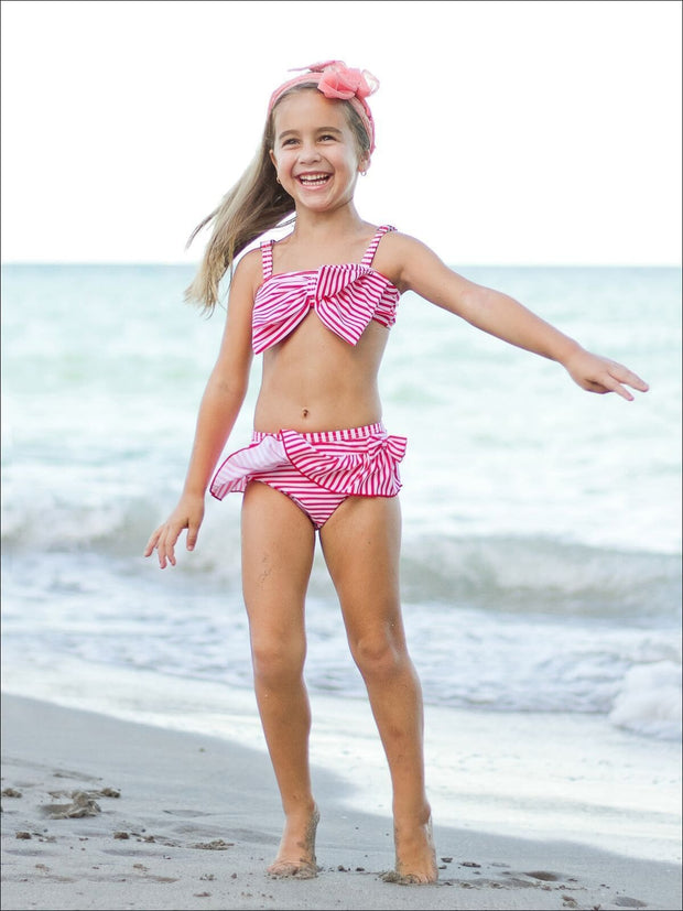 Girls Striped Big Bow Bandeau & Skirted Two Piece Swimsuit - Girls Two Piece Swimsuit