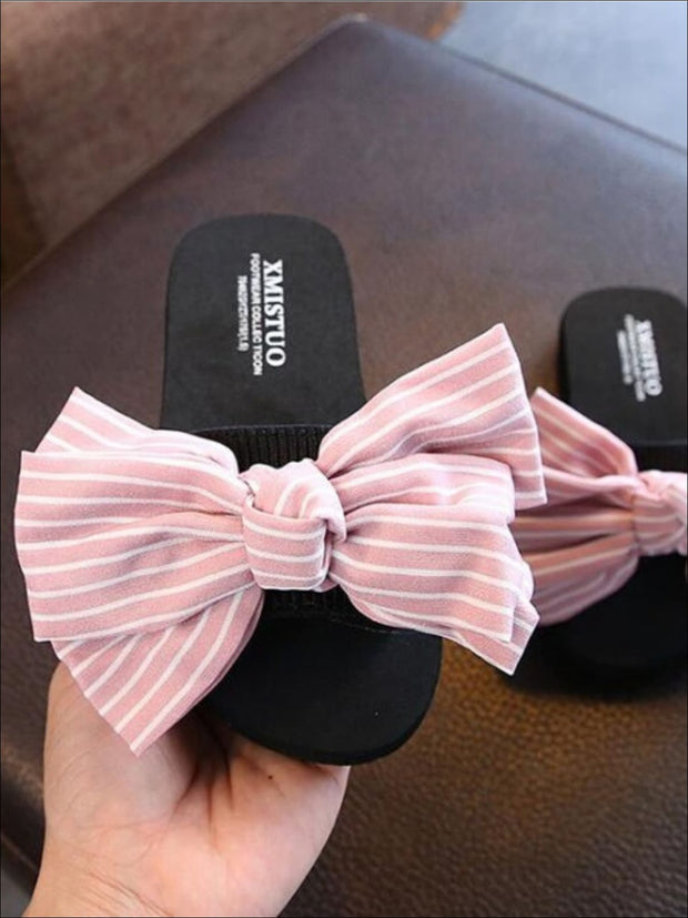 Girls Striped Bow Embellished Flip Flops - Girls Slides