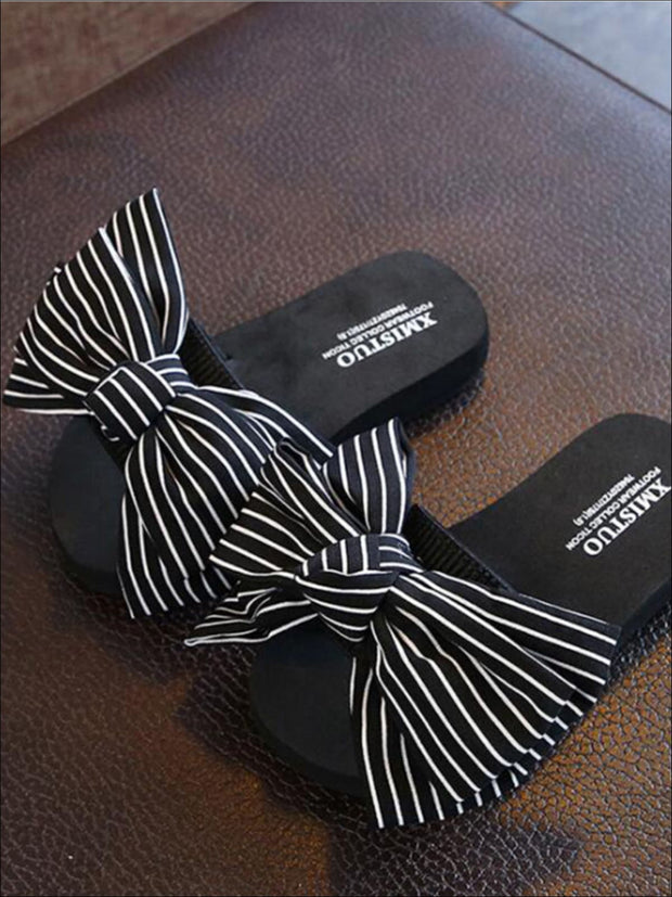 Girls Striped Bow Embellished Flip Flops - Black / 1 - Girls Slides