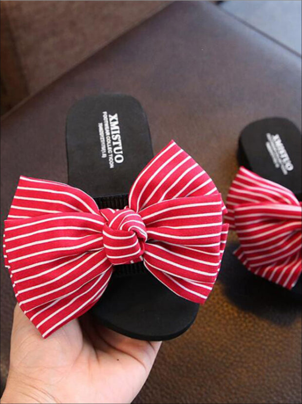 Girls Striped Bow Embellished Flip Flops - Red / 1 - Girls Slides