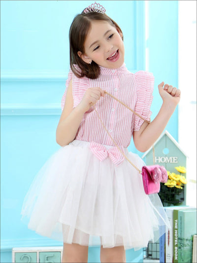 Girls Striped Button Up Tiered Ruffle Sleeve Blouse & Bow Tutu Skirt Set - Girls Spring Dressy Set