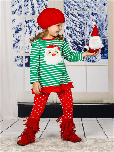 Girls Striped Christmas Themed Long Sleeve Ruffled Santa Applique Tunic & Polka Dot Leggings Set - Girls Christmas Set