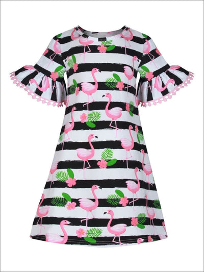 Girls Striped Flamingo Print Flared Pom Pom Sleeves Dress - Girls Spring Casual Dress