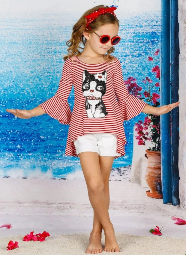 Girls Striped Flared Long Sleeve Animal Applique Top - Girls Fall Top
