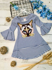 Girls Striped Flared Long Sleeve Animal Applique Top - Blue / 2T/3T - Girls Fall Top