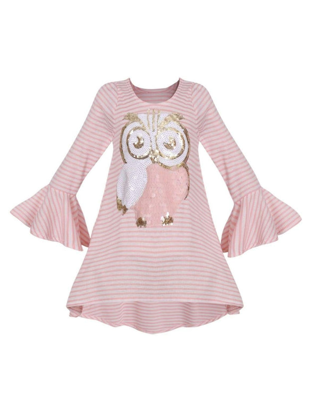 Girls Striped Flared Long Sleeve Animal Applique Top - Pink / 2T/3T - Girls Fall Top