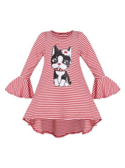 Girls Striped Flared Long Sleeve Animal Applique Top - Red / 2T/3T - Girls Fall Top