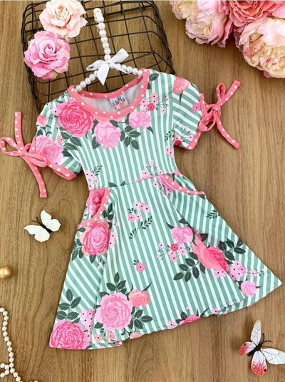 Girls Striped Floral Pocket Sleeve Tie Dress - Green / 2T - Girls Spring Casual Dress