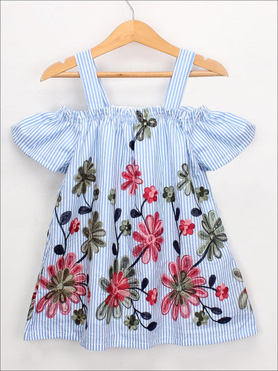 Girls Striped Flower Embroidered Cold Shoulder Dress - Blue / 2T - Girls Spring Casual Dress