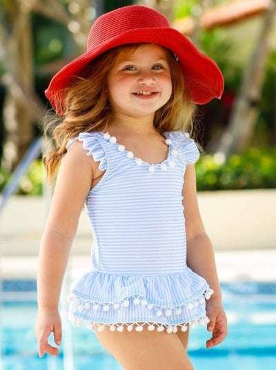 Girls Striped Flutter Sleeve Ruffled Pom Pom One Piece Swimsuit with Back Bow - Blue / 2T - Girls One Piece Swimsuit