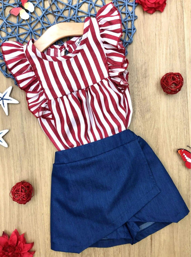 Girls Striped Flutter Sleeve Top and Wrap Skort Set - Red / 2T/3T - Girls Spring Casual Set