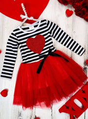 Girls Striped Glitter Heart Tutu Dress - Red / 2T - Girls Fall Casual Dress