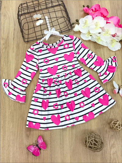 Girls Striped Heart Floral Print Ruffled Dress - Fuchsia / 2T - Girls Fall Casual Dress