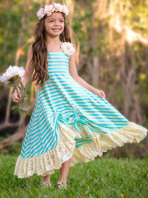 Girls Striped Hi-Lo Ruffled Lace Hem Drawstring Dress - Girls Spring Casual Dress