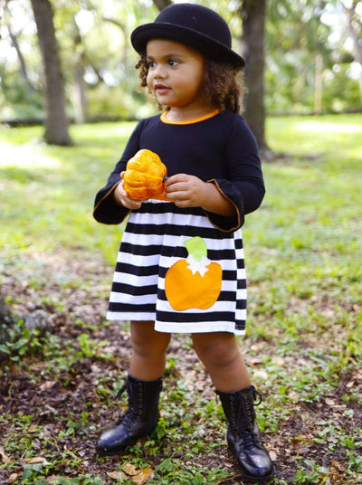 Girls Striped Long Flared Sleeve Dress with Pumpkin Applique - Girls Fall Casual Dress