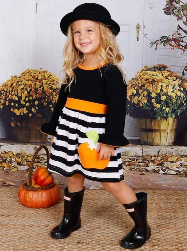 Girls Striped Long Flared Sleeve Dress with Pumpkin Applique - Black / S-3T - Girls Fall Casual Dress