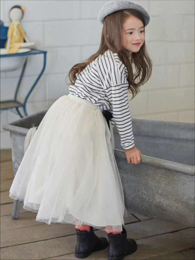 Girls Striped Long Sleeve Top & Tulle Skirt Set - Girls Fall Casual Set