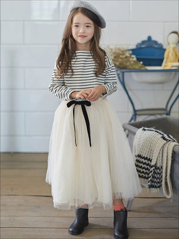 Girls Striped Long Sleeve Top & Tulle Skirt Set - Black & White / 4T - Girls Fall Casual Set