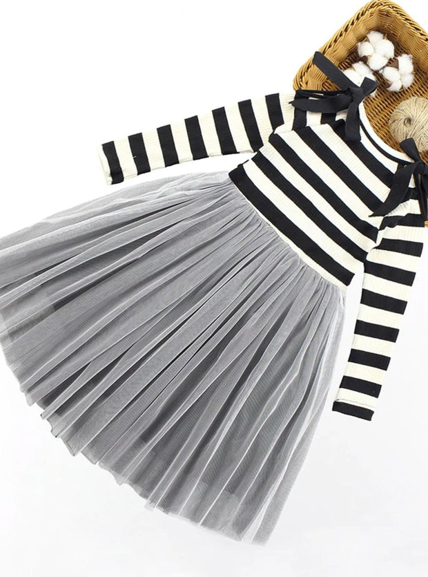 Girls Striped Long Sleeve Tulle Dress With Black Ribbon & Faux Pearl Details - 5Y / Black & Grey - Girls Fall Dressy Dress