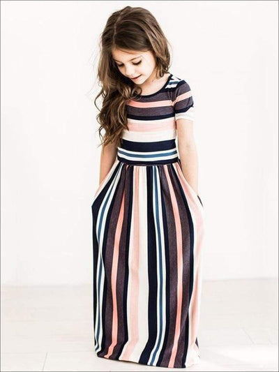 Girls Striped Maxi Dress - Girls Spring Casual Dress