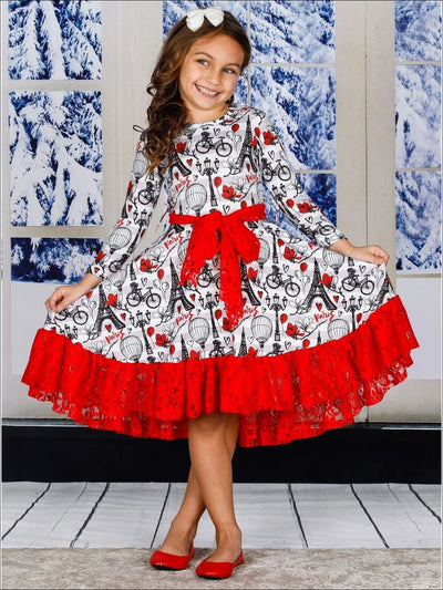 Girls Striped Paris Print Long Sleeve Lace Ruffled Hem and Sash Twirl Dress - Girls Fall Dressy Dress