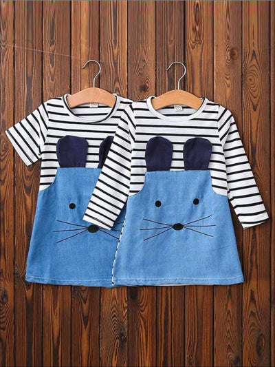 Girls Striped Patchwork Denim T-shirt Dress ( 2 Style Options ) Girls Spring Casual Dress