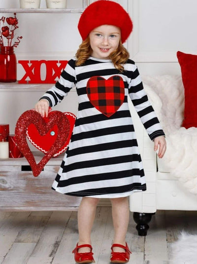 Girls Striped Plaid Heart Long Sleeve Dress - Girls Fall Casual Dress