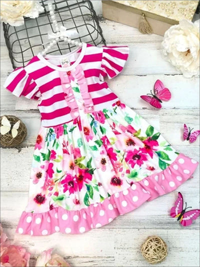 Girls Striped & Polka Dot Flutter Sleeve Floral Ruffled Dress - Girls Spring Casual Dress