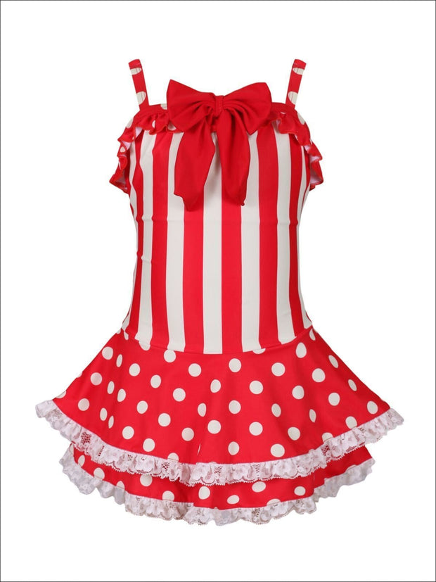 Girls Striped & Polka Dotted Skirted One Piece Swimsuit with Bow Detail - Girls One Piece Swimsuit