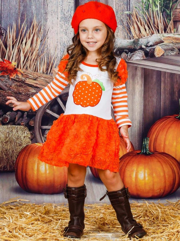 Girls Striped Puff Long Sleeve Orange Tutu Skirt Dress with Pumpkin Applique - Girls Fall Casual Dress