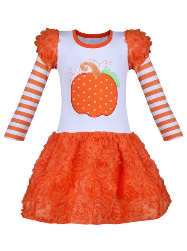 Girls Striped Puff Long Sleeve Orange Tutu Skirt Dress with Pumpkin Applique - Orange / XS-2T - Girls Fall Casual Dress