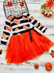 Girls Striped Pumpkin Print Tutu Dress - Orange / 3T - Girls Fall Casual Dress