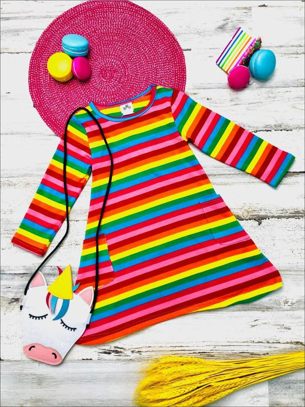Girls Striped Rainbow Long Sleeve Pocket Dress with Unicorn Crossbody Purse - Multicolor / 3T - Girls Fall Casual Dress