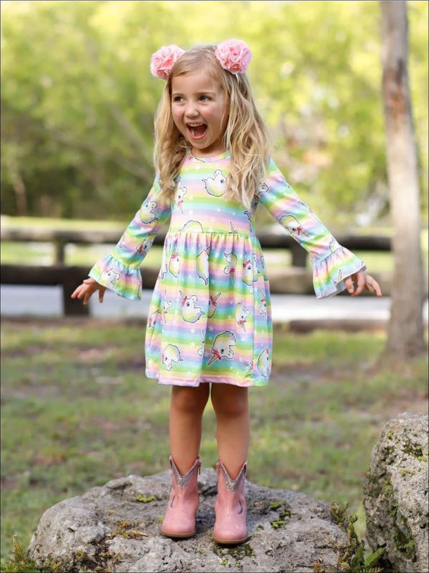 Girls Striped Rainbow Unicorn Print Long Flared Sleeve Dress - Multicolor / XS-2T - Girls Spring Casual Dress