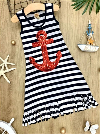 Girls Striped Red Sequin Anchor Fringe Dress - Girls Spring Casual Dress