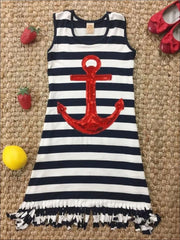 Girls Striped Red Sequin Anchor Fringe Dress - Navy / 2T/3T - Girls Spring Casual Dress