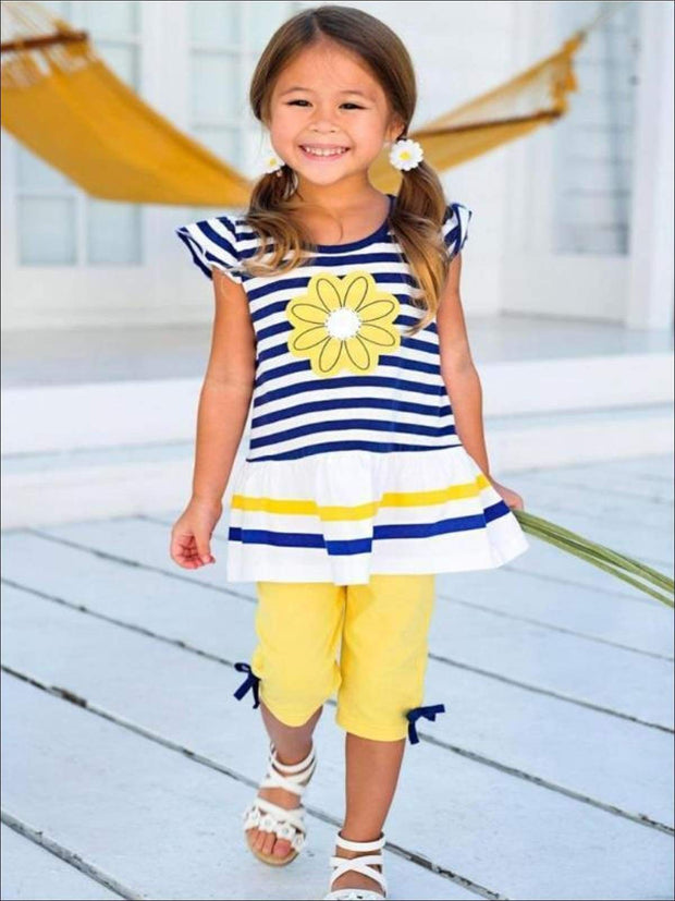Girls Striped Royal Blue & Yellow Flutter Sleeve Flower Tunic & Capri Leggings with Bows Set - Girls Spring Casual Set