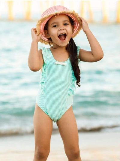 Girls Striped Ruffled One Piece Swimsuit with Bows - Green / 2T/3T - Girls One Piece Swimsuit