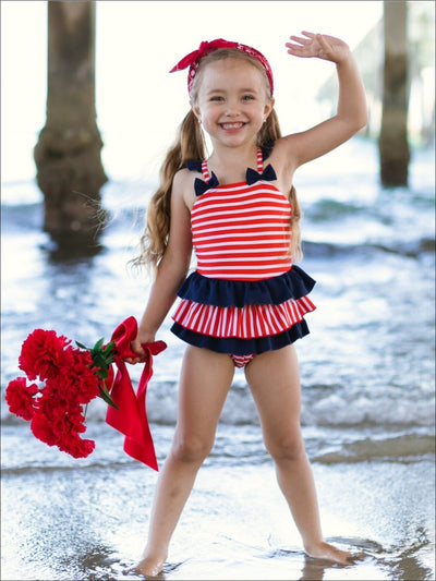 Girls Striped Ruffled Skirted One Piece Swimsuit with Bow Detail - Girls One Piece Swimsuit